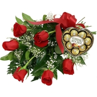 Half A Dozen Roses with Chocolates