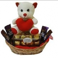 teddy with chocolate basket