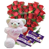 » Recommend this product Red Roses with Cadbury Dairy Milk and Teddy Bear