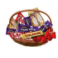 BASKET OF ASSORTED CHOCOLATE 12 RED ROSES