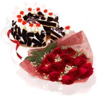 Dozen Roses with Black Forest Cake