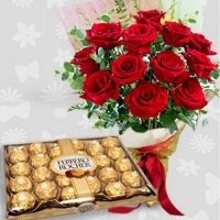DOZEN ROSES WITH 24 FERRERO ROCHER