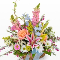 Colorful Mix of Flowers in a Basket